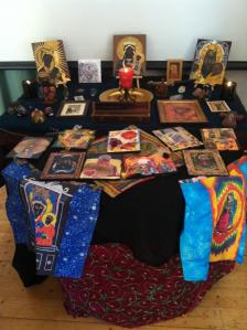 Black Madonna workshop altar with our icons